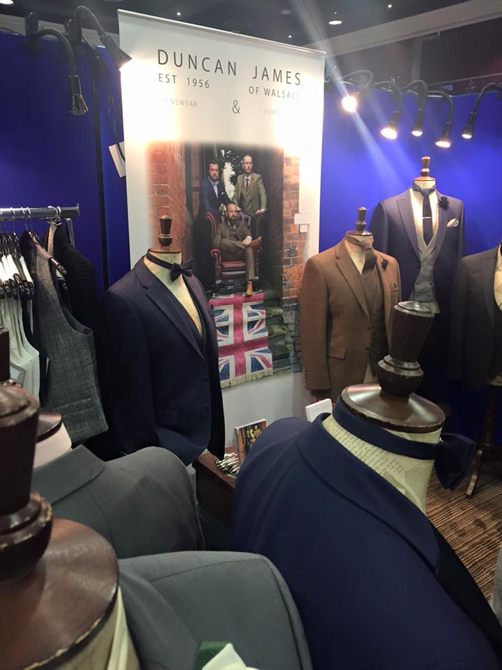 Midland Wedding Show wedding fayre menswear wedding tweed at Duncan James at Aston Villa