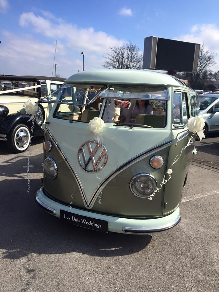 Midland Wedding Show vintage VW Camper hire wedding car at Aston Villa