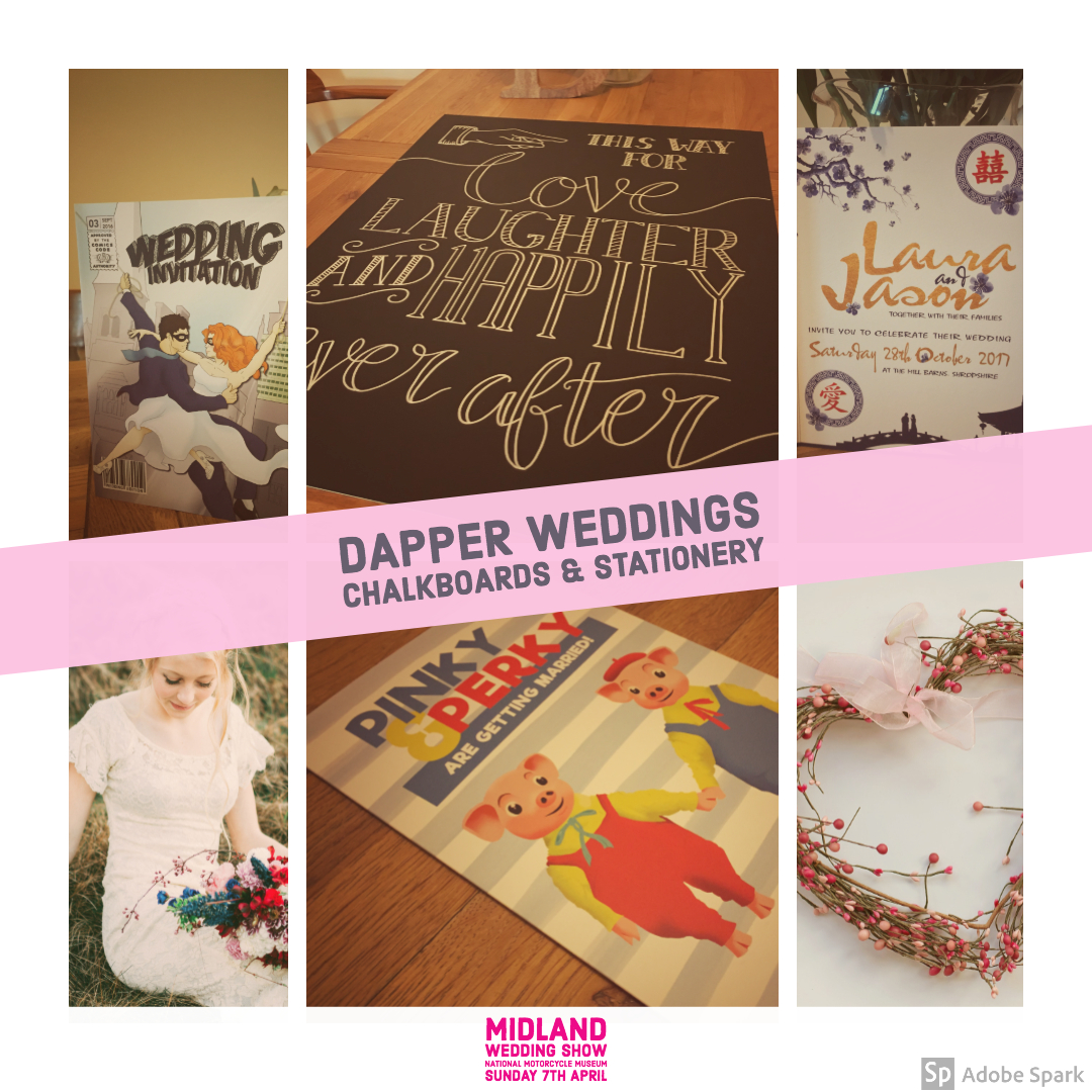 Dapper weddings stationery at Midland Wedding Show wedding fair 7th april 2019