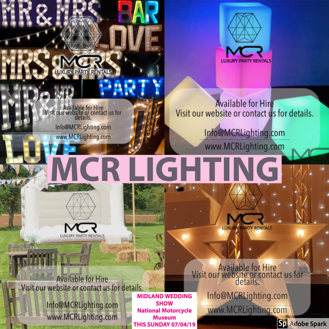 MCR lighting at Midland Wedding Show wedding fair sunday 7th april