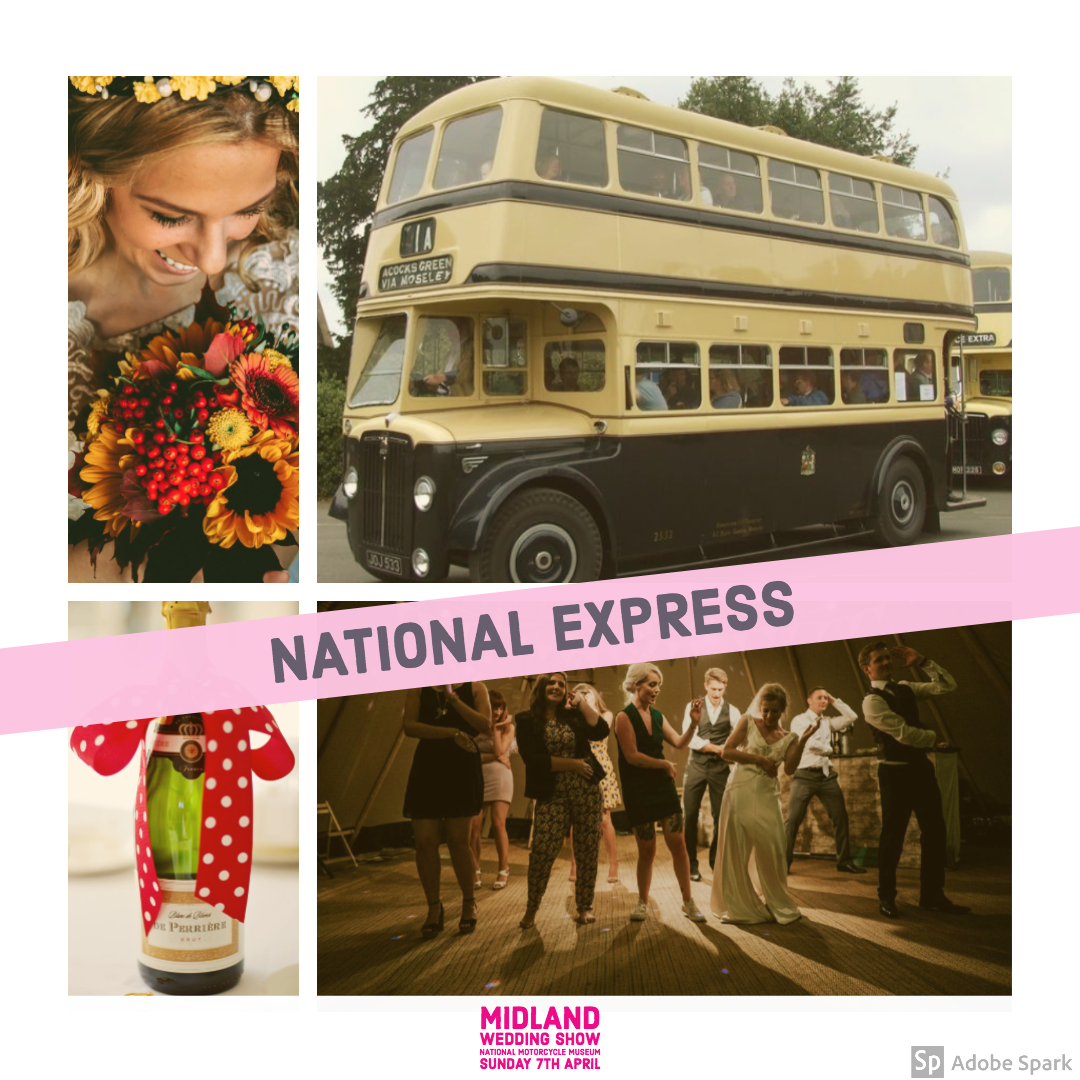 National Express vintage bus at Midland Wedding Show wedding fair 7th april