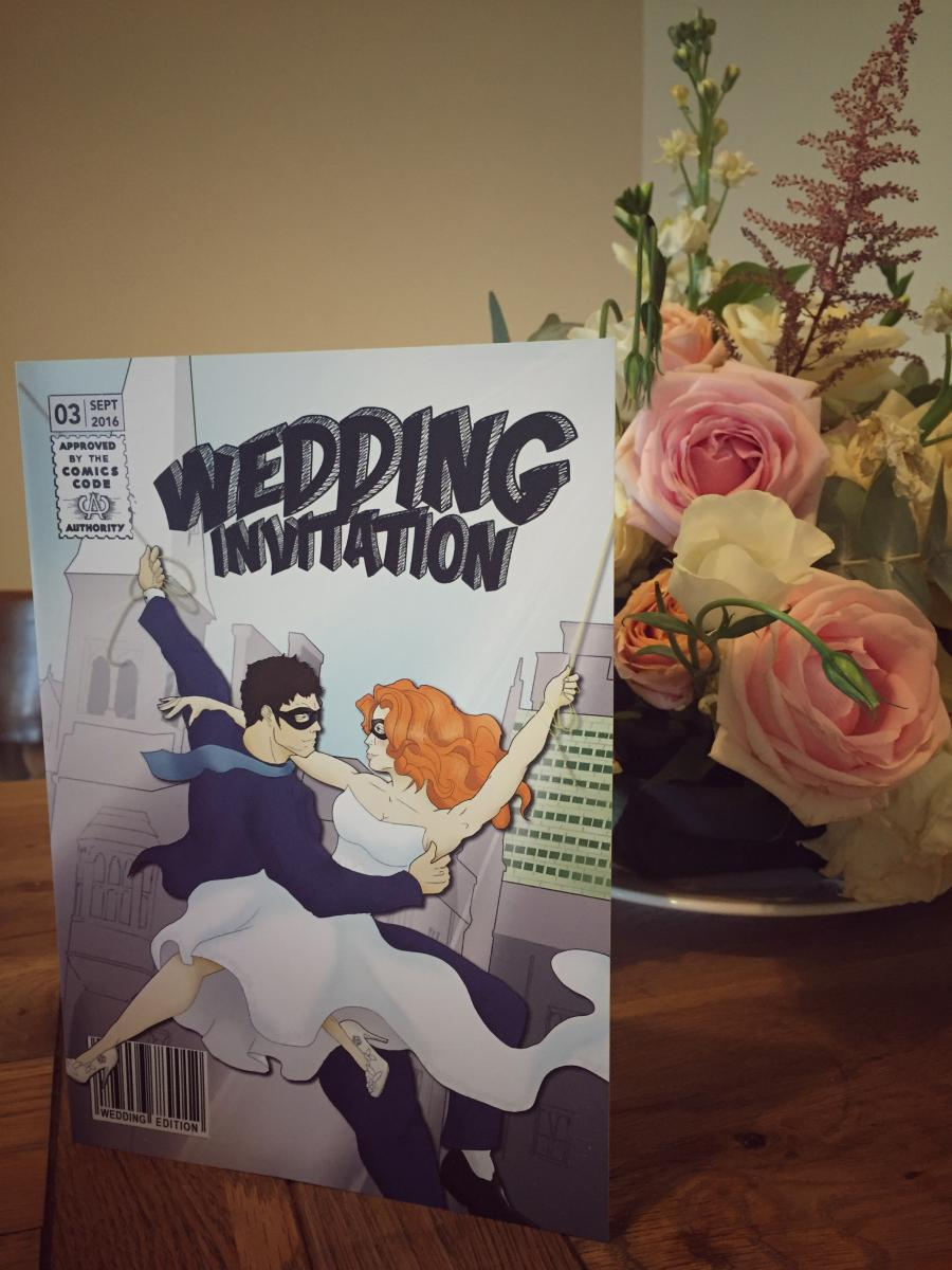 Dapper wedding stationery super hero at Midland Wedding Show wedding fair at National Motorcycle Museum