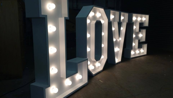 Magic Moments LED Wedding Letters at Midland Wedding Show wedding fayre at National Motorcycle Museum