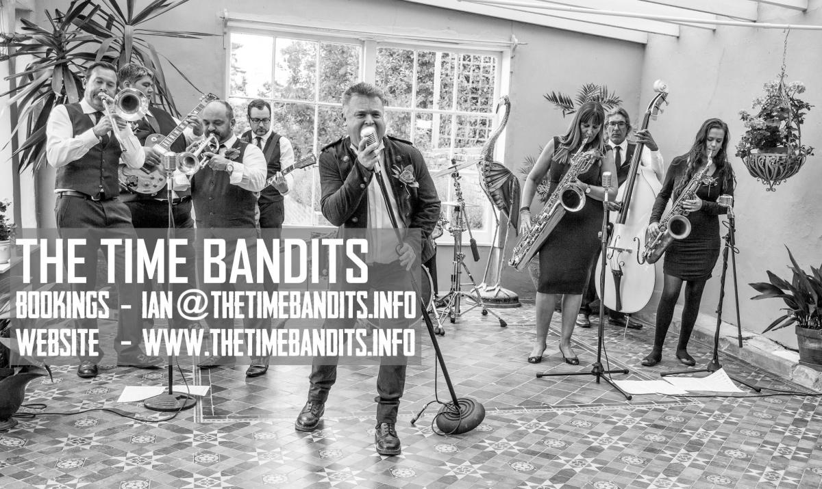 The Time Bandits wedding party band and quartet at Midland Wedding Show wedding fayre at National Motorcyle Museum
